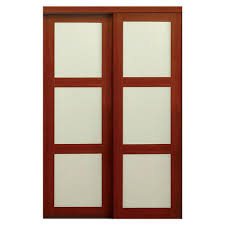 60 x 80 sliding doors interior closet doors the home depot 2310 series composite 3 lite tempered frosted glass composite cherry interior sliding door