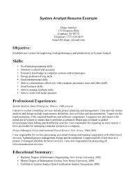resume for entry level system analyst