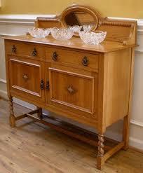 antique english oak barley twist mirror back sideboard server