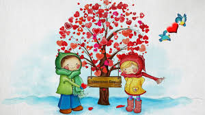 childrens valentine hearts children birds romantic tree valentines