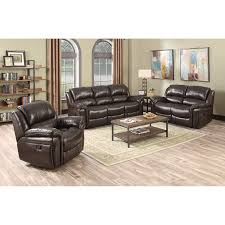 odell 3 piece top grain leather reclining set