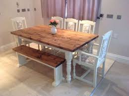 Farmhouse Benches For Dining Tables Antique Farmhouse Kitchen Table With Bench For Classic Decoration