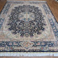 Persian Rug Mouse Mat by 9x12 Blue Handmade Persian All Silk Carpet Large Oversize Oriental