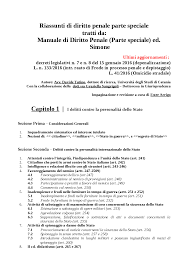 dispense diritto penale riassunto diritto penale parte speciale ed docsity