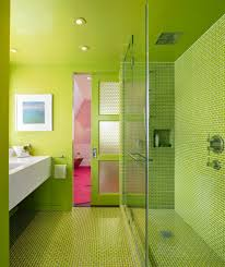 pink and lime green kitchen contemporary with vinyl flooring