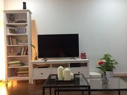 living room with ikea hemnes tv bench brusali bookcase vittsjo