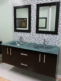 Euro Bathroom Vanity Double Sink Modern Bathroom Vanity Glass Sink Integrated Glass