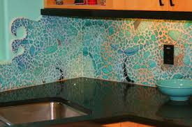 Sea Glass Backsplash Tile Sea Blue Green Glass Stainless Steel Sea - Green glass backsplash tile