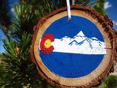 original state flag painting on wood tirle colorado state flag