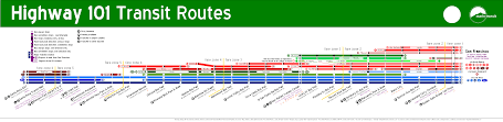 San Francisco Subway Map by Map Of Ggt U0027s 101 Bus Lines Vibrant Bay Area