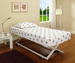High Twin Bed Frame Pop Up Trundle Bed Frame For Flexible Interior Arrangement