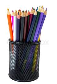 pencil box up of colored pencils in pencil box stock photo colourbox
