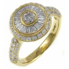 gold engagement rings uk 18ct yellow gold 1 16ct circular deco style diamond ring