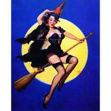 halloween witch card pinup rides broom full moon
