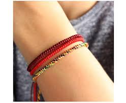 bracelet lucky images Handmade lucky buddhist knot bracelet red deep red gold mix jpg