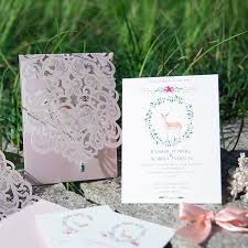 wedding invitations greenery pink greenery pocket laser cut wedding invites with