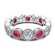 ruby band milgrain diamond and ruby eternity band ring in 18k gold