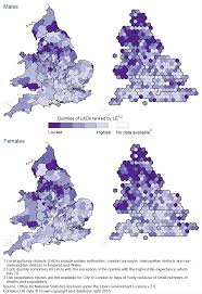 Wales England Map by Life Expectancy At Birth And At Age 65 By Local Areas In England