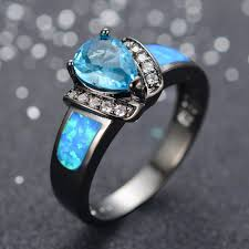 turquoise opal engagement rings blue fire opal water drops engagement ring set genuine woman 10kt