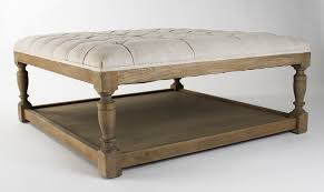 zentique furniture square tufted ottoman stained oak