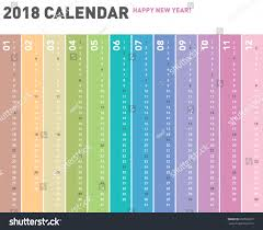 colorful calendar layout 2018 years one stock vector 659520007