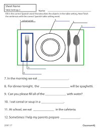 Dining Room Etiquette by Spanish Table Setting Worksheet Spanishworksheets Classroomiq
