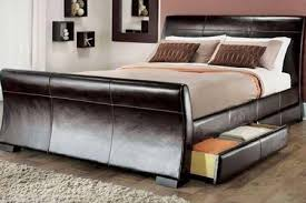 King Size Leather Sleigh Bed 5ft King Size Leather Sleigh Bed With Storage 4x Drawers Brown By