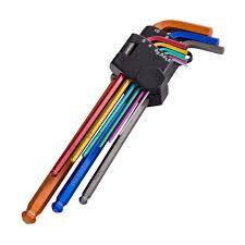 hex key set warrior coloured 9pc extra long metric allen keys hex key set