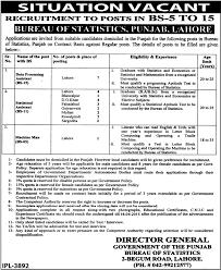 statistics bureau data processing assistant in bureau of statistics punjab