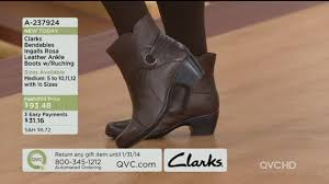 clarks womens boots qvc clarks leather ankle boots w ruching ingalls rosa page 1