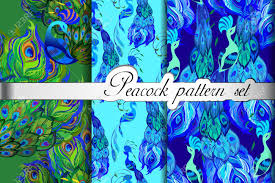 blue pattern background html peacock feathers seamless patterns background set peacock
