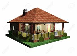 summer holidays house bungalow 3d architecture stock photo