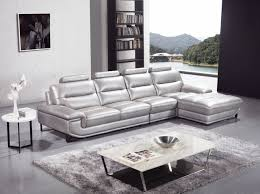 Silver Living Room Furniture Silver Sectional Sofa In High Quality Leather Modern Living
