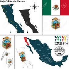 Mexico Country Map by Vector Map Of State Baja California With Coat Of Arms And Location