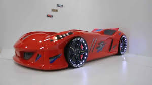 Race Car Bunk Bed Hot Red Jaguar Race Car Bed With Led Lights Usa Youtube