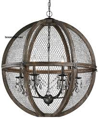 Wire A Chandelier Large 30 Farmhouse Wood Chicken Wire Sphere