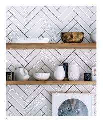 Herringbone Kitchen Backsplash Adore Aug Sep 2015 Open Shelves Herringbone And Shelves