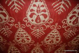 Red Drapery Fabric Ikat Nasha Distressed Scarlet Red Tribal Style Slubby Texture