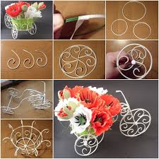 how to diy decorative wire cart planter for flower bouquet diy