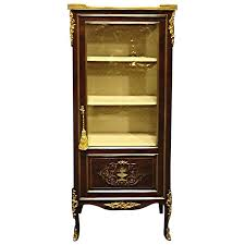 Antique Brass Display Cabinet Mahogany And Brass Inlaid Display Cabinet Vitreen For Sale At 1stdibs