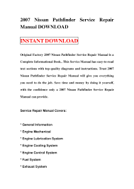 2007 nissan pathfinder service repair manual download