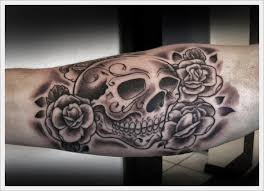 sugar skull roses and bones tattoos for men in 2017 real photo