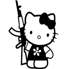 kitty ak 47 gun vinyl sticker wall car