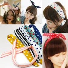 korean headband women rabbit ear hair bow tie band japan korean chiffon ponytail
