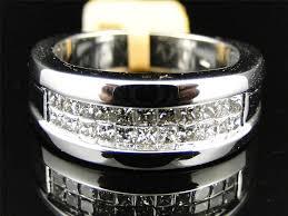 white diamonds rings images Mens white gold princess cut 2 row white diamond wedding band ring jpg