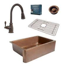 Bronze Faucet With Stainless Steel Sink Farmhouse U0026 Apron Kitchen Sinks Kitchen Sinks The Home Depot