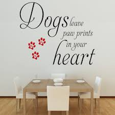dogs leave paw prints in your heart wall stickers decals black and red dogs leave paw prints wall decal in a dining room