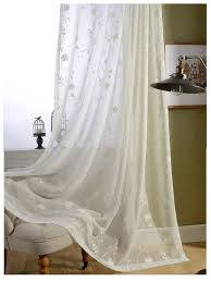 Embroidered Sheer Curtains Ready Made White Cotton Embroidered Sheer Curtains For Living Room
