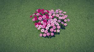 beautiful heart shaped flower garden drops from the sky on a green