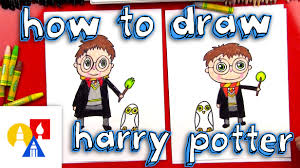 how to draw a cartoon harry potter and hedwig youtube